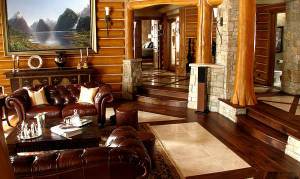 Smooth Walnut with Tile Living Room
